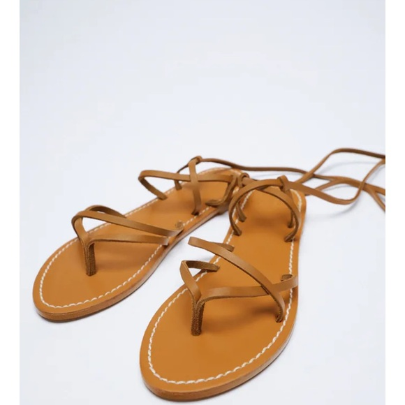 NEW Zara Leather Lace Up Sandals